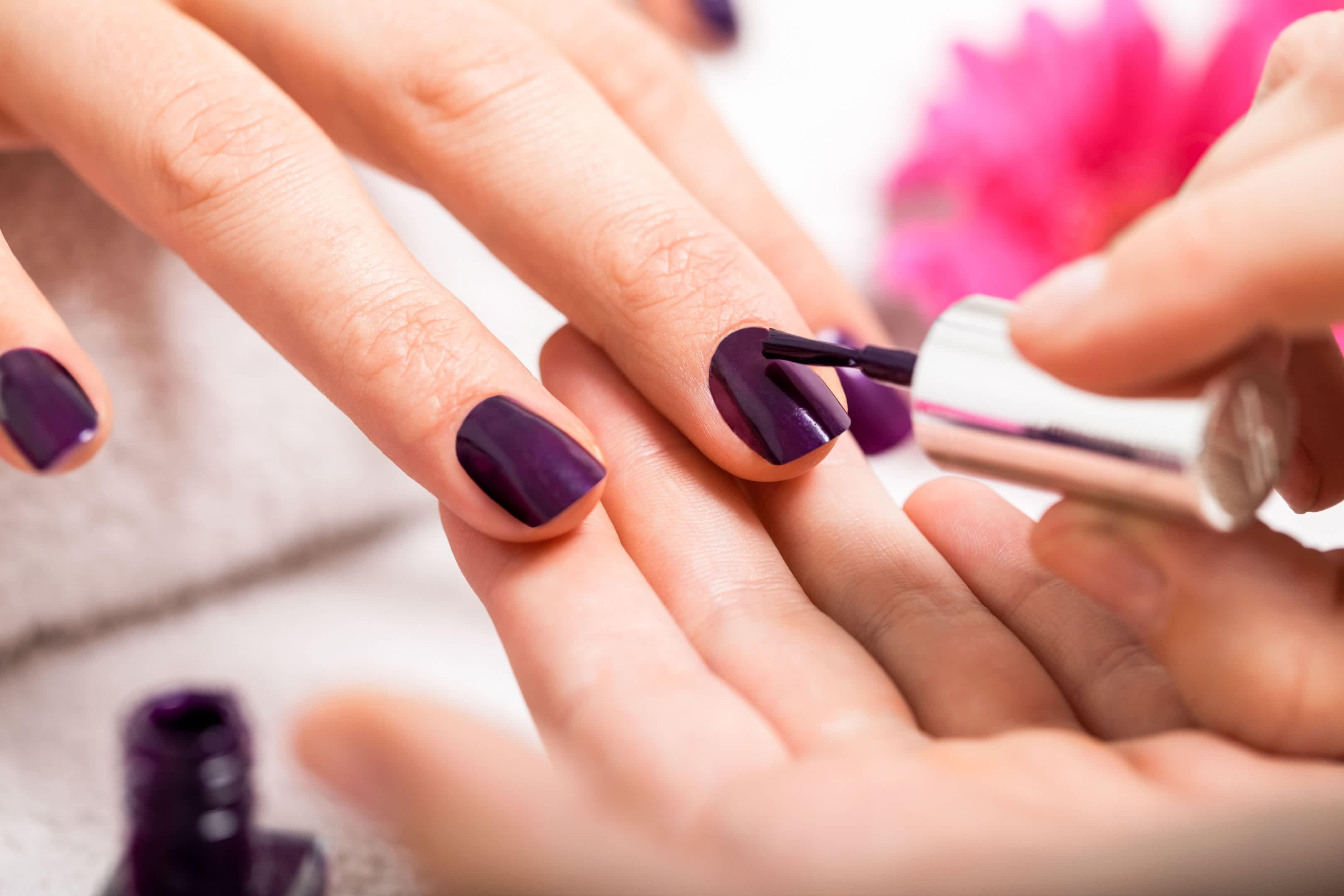 Gel polish on fingers