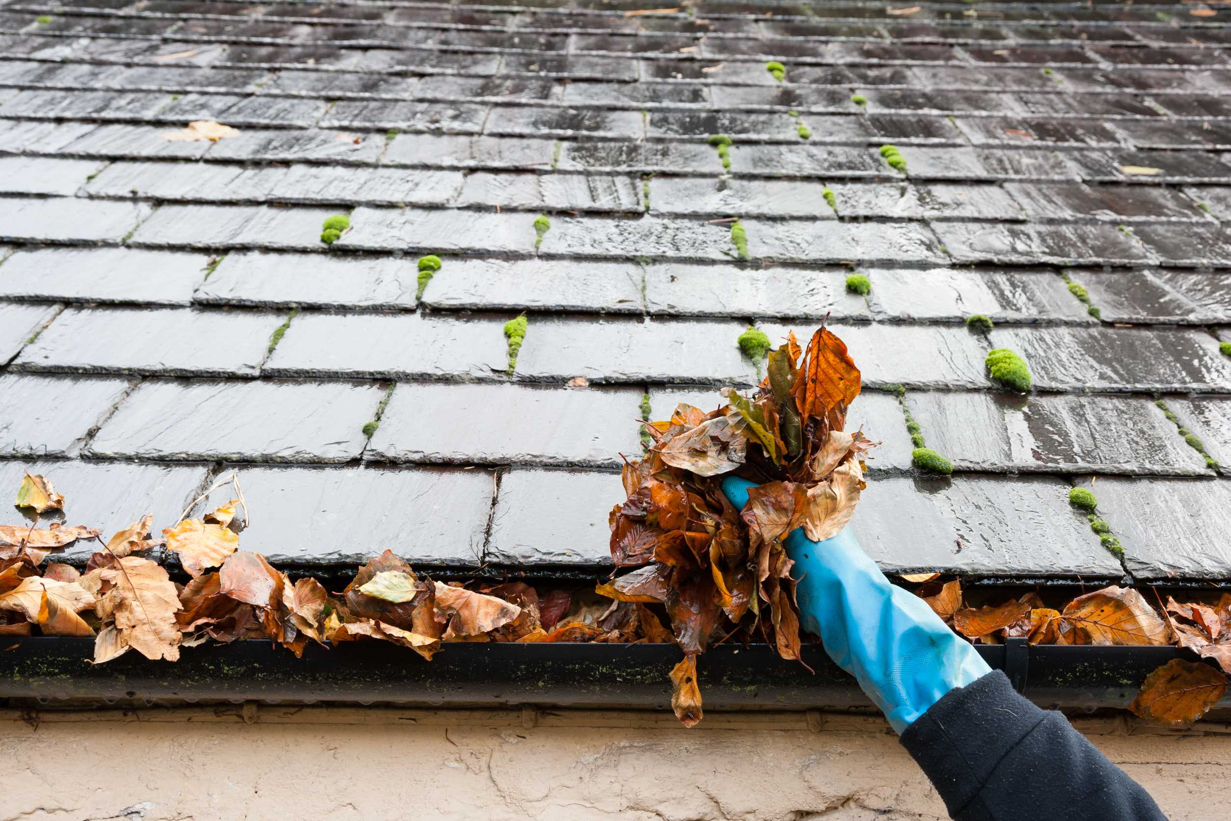 Gutter cleaning local cut tiles without a tile cutter