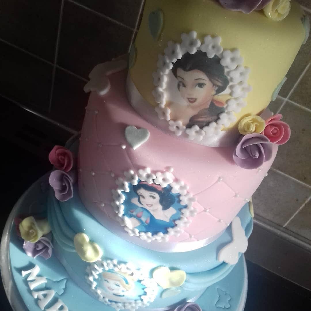 Fine 3 Tier Disney Princess Birthday Cake Cake Shop Birthday Cards Printable Trancafe Filternl