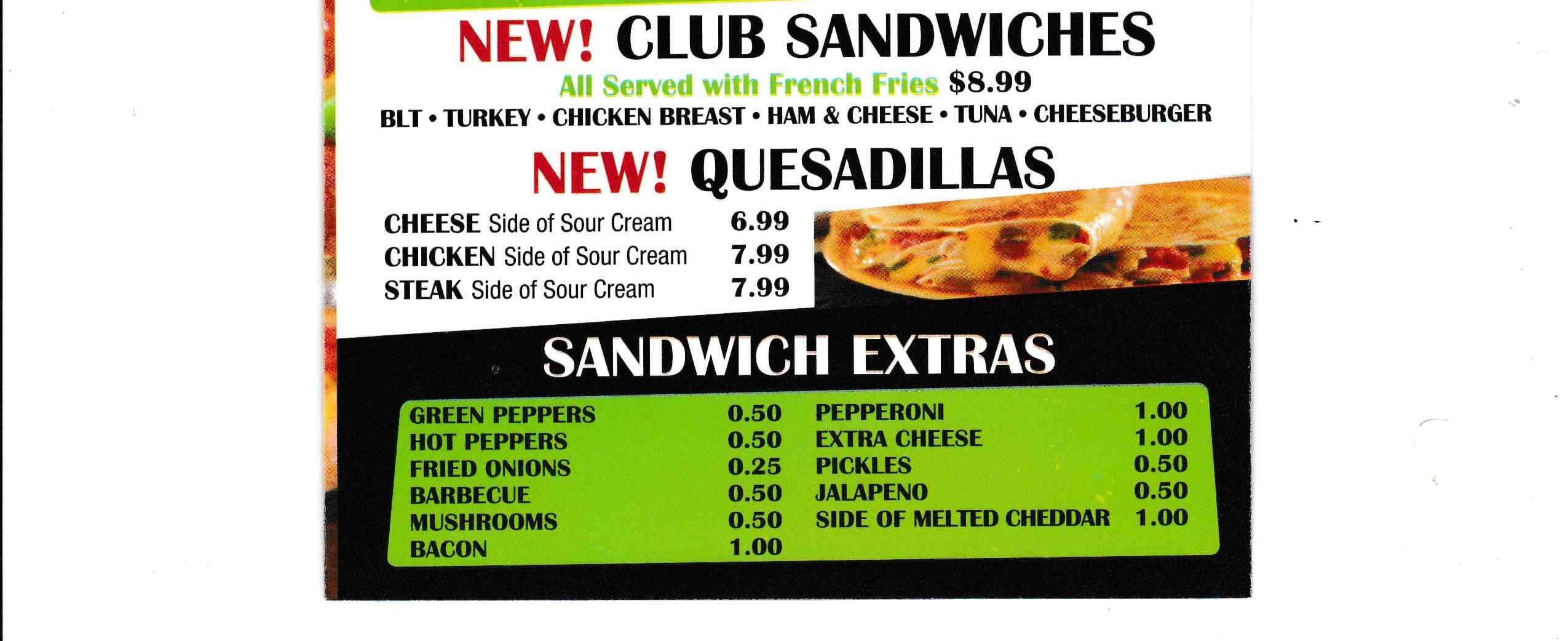 Club Sandwiches - Quesadillas ~ Sandwiches Extras