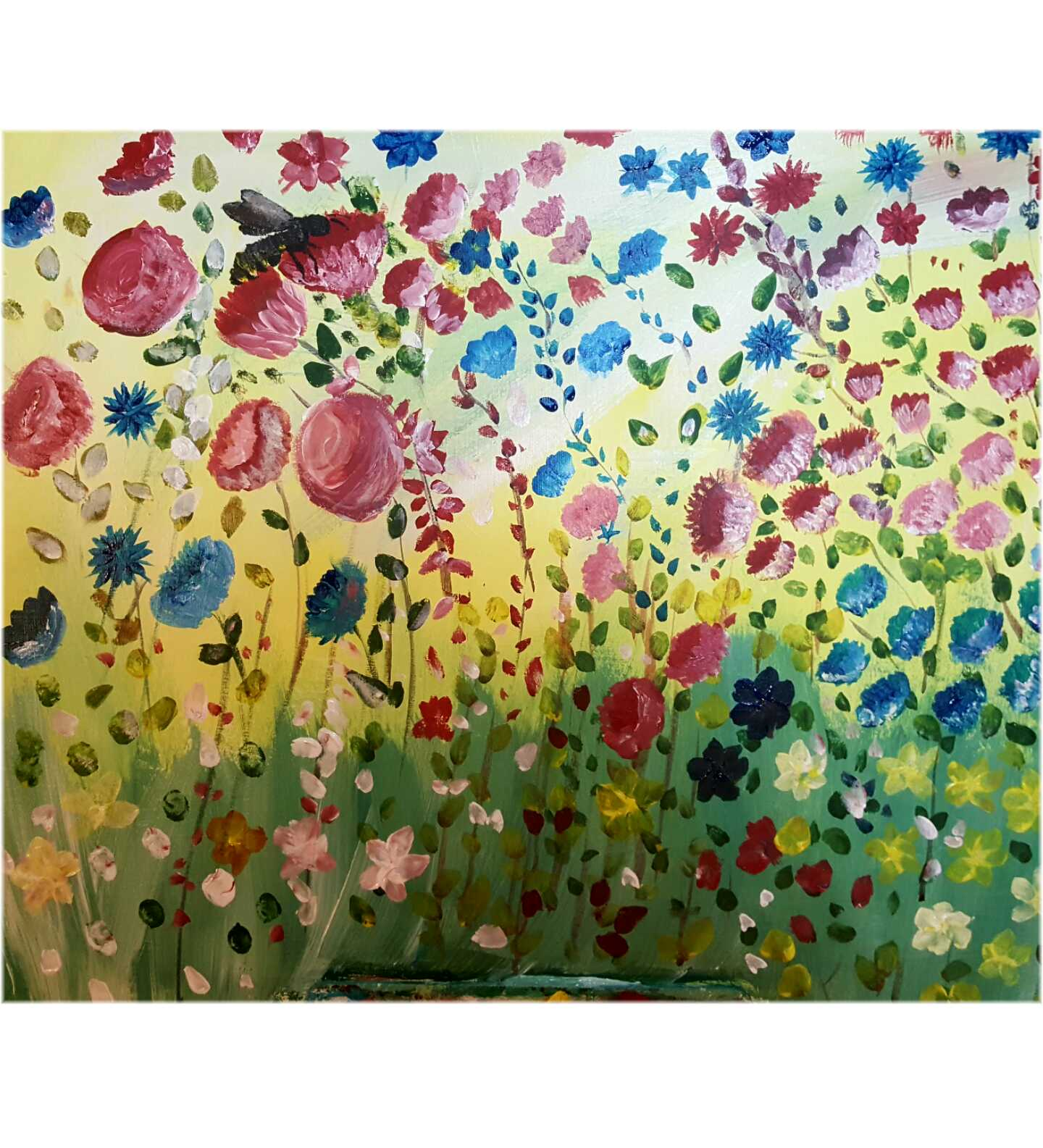 80x30 Painted Acrylic on Canvas. Flowers