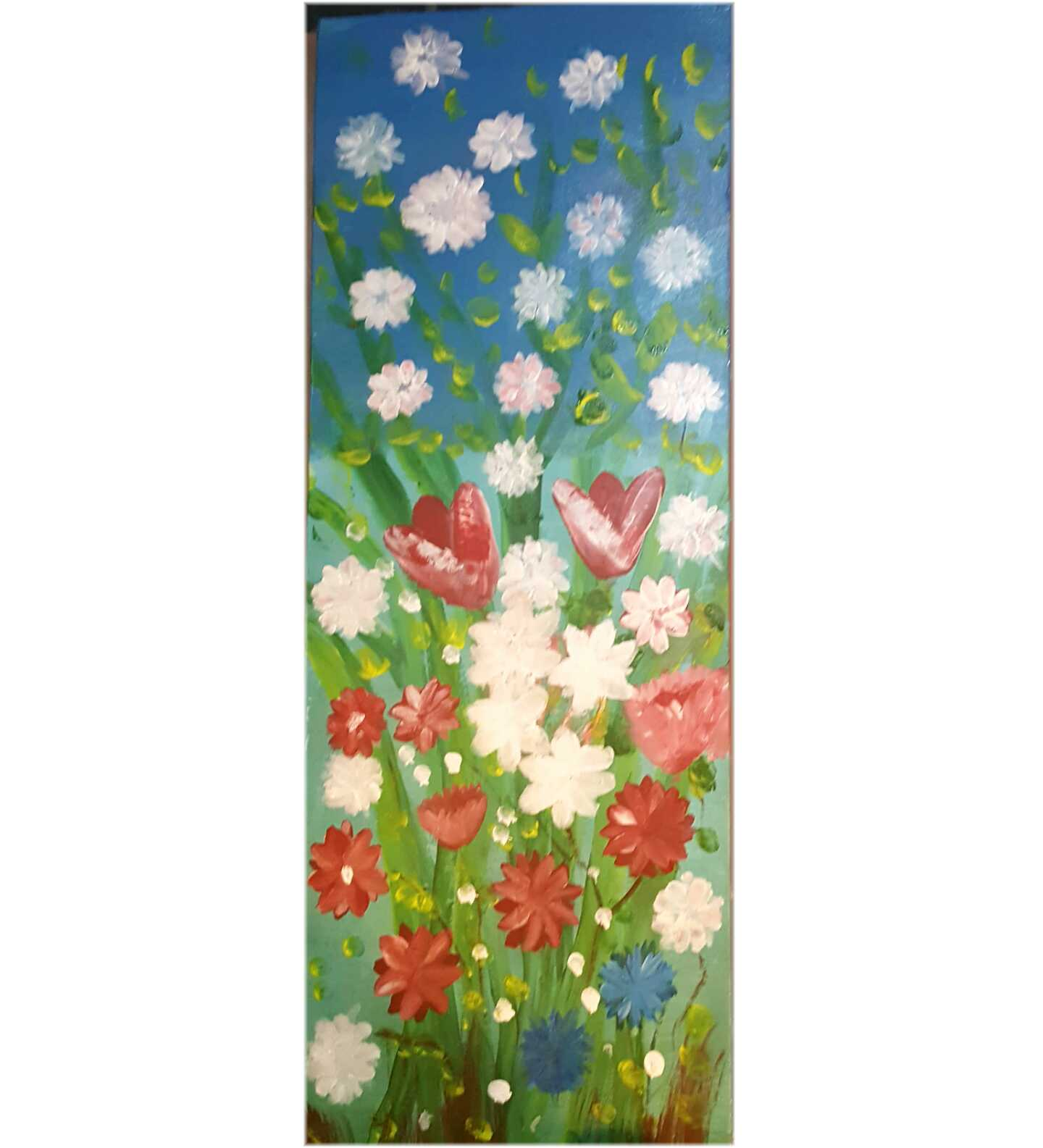 With summer Flowers in pink white and Blue