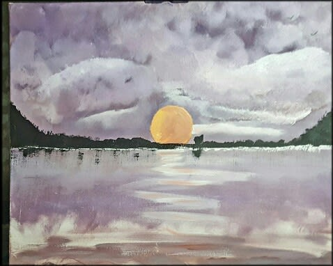50x60cm Acrylic Painting on Canvas. Sunset at sea
