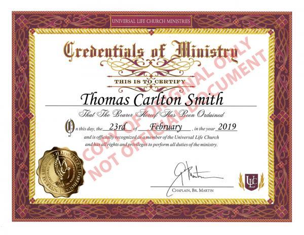 ULC  Minister Tom Smith