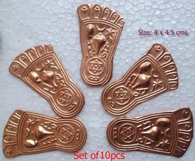 Buy Copper Vishnu Charan - Set of 10 pcs