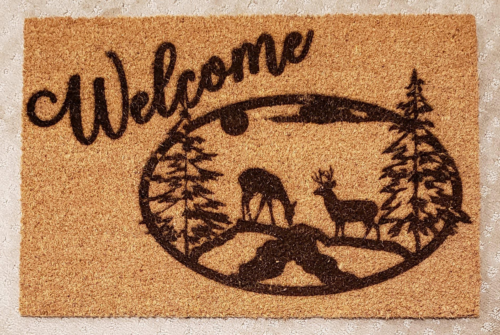 Welcome Deer Mat 24x16