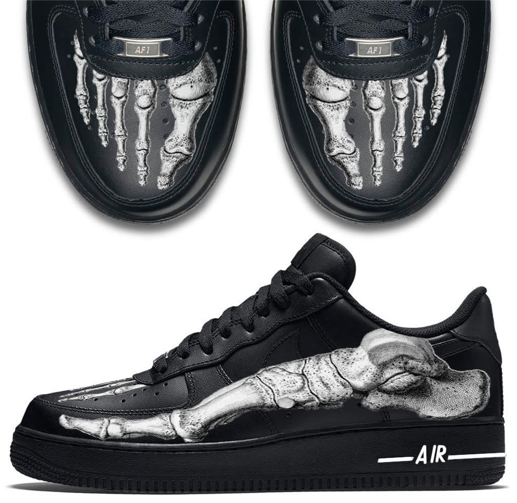 Skeleton Feet Custom Nike Air Force 1 Sneakers Custom Sneakers
